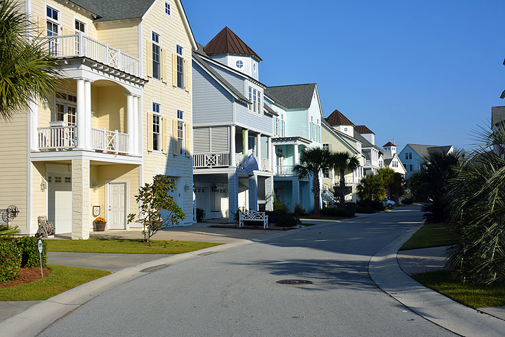 Colorful homes in Atlantic Beach, NC