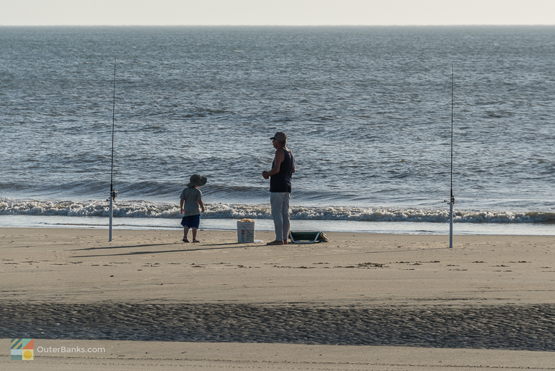 Surf fishing lessons early in the morning