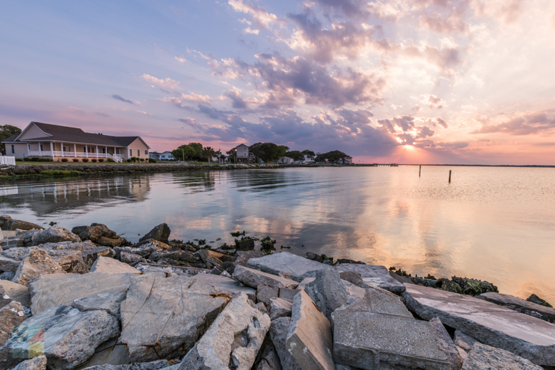 Bogue sound at sunset behind Willis Seafood