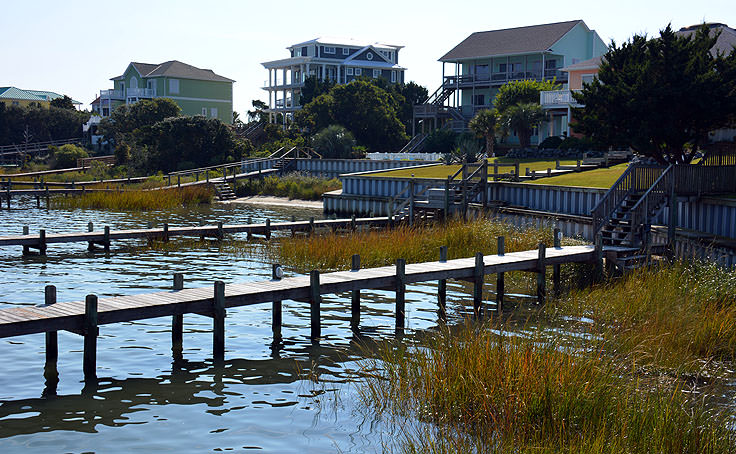 Waterfront homes with docks in Emerald Isle, NC