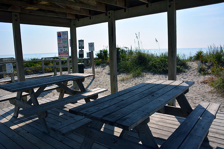Public beach picnic shelter in Emerald Isle, NC