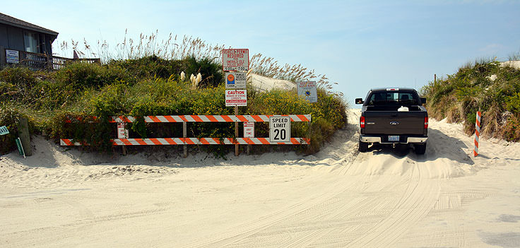 A 4x4 beach access ramp in Emerald Isle, NC