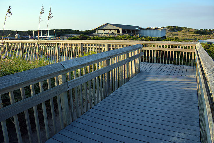 An elevated walkway over dunes at Picnic Park, Atlantic Beach, NC