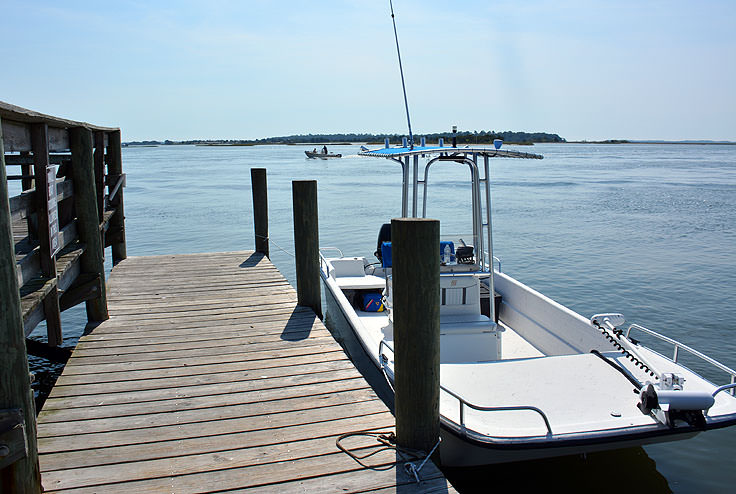 A boat dock in Swansboro, NC