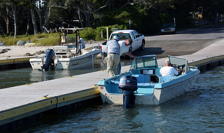 Launching boats on Bogue Sound