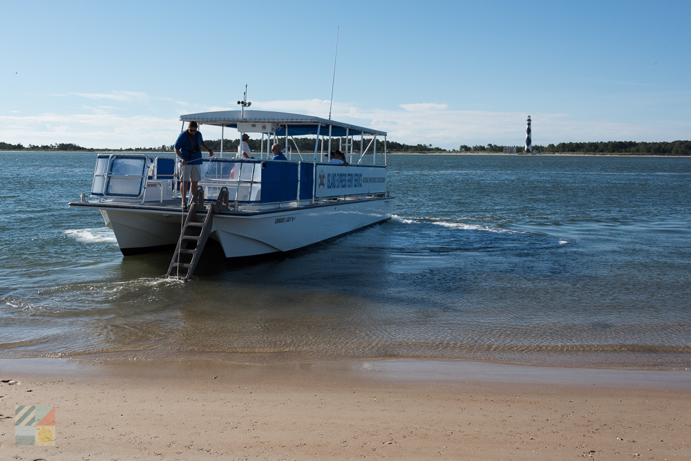 Island Express ferry pulling away from the Shackleford Banks