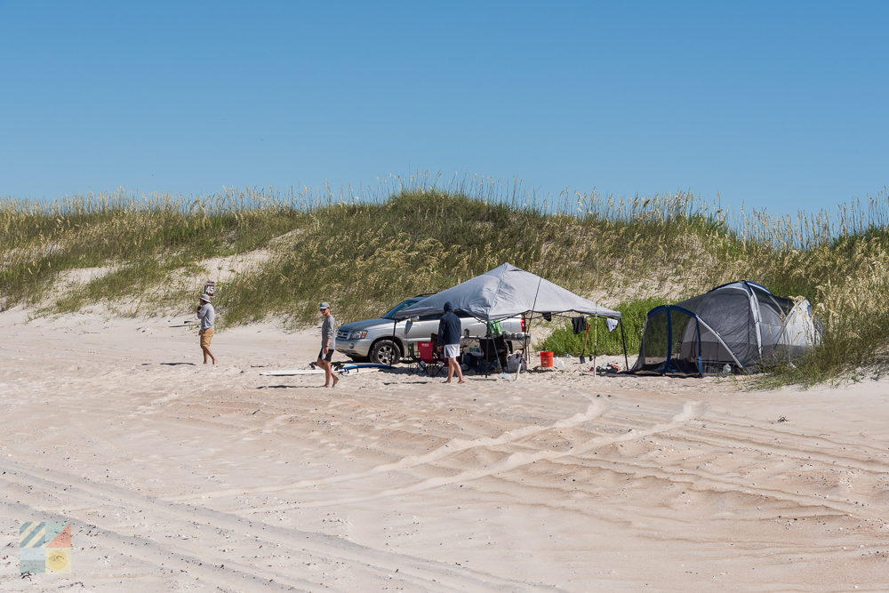 Campers on Cape Lookout near the Cape Lookout Lighthouse
