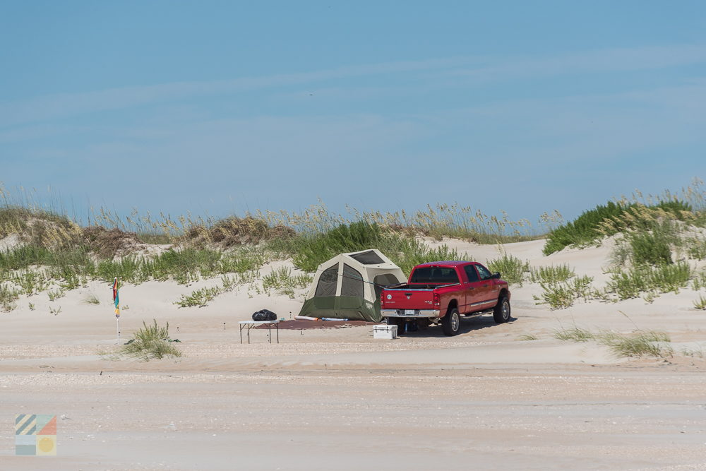 a 4x4 pickup and campsite on Cape Lookout National Seashore