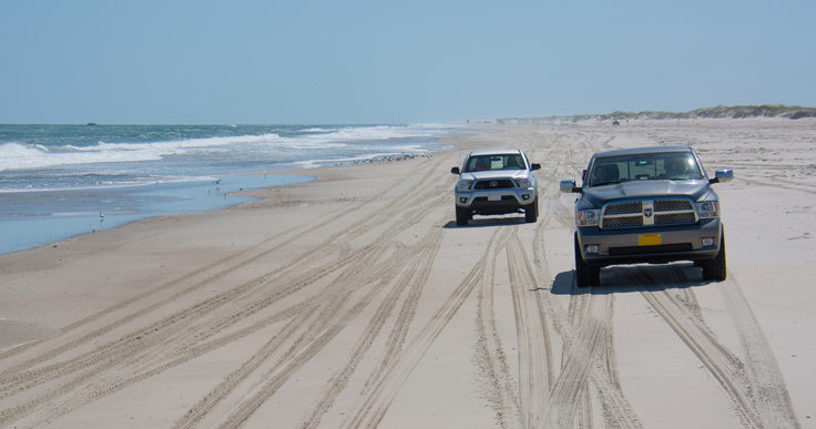 Driving on the beach in Emerald Isle