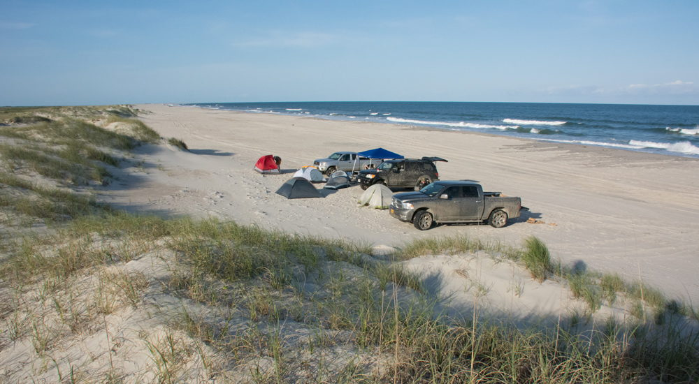 Campers on Portsmouth Island, NC